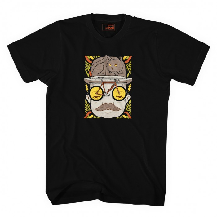 JEREMY FISH MR CAT HAT T-SHIRT BLACK